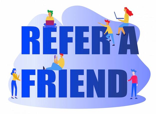 Fare riferimento a un concetto di illustrazione vettoriale amico Vettore Premium