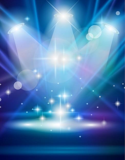 Faretti magici con raggi blu ed effetto luminoso Vettore Premium
