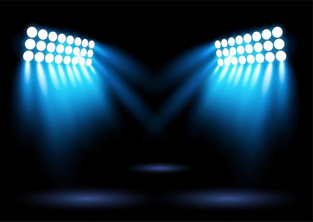 Faretto di illuminazione arena stadio blu brillante Vettore Premium