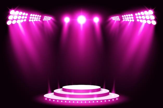 Faretto per palcoscenico a luce viola con tappeto rosso Vettore Premium