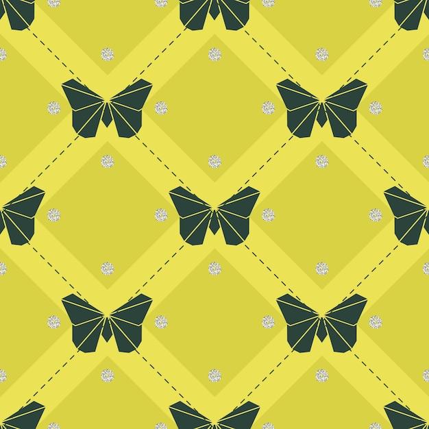 Farfalla di origami senza soluzione di continuità con sfondo argento del modello di glitter argento Vettore Premium