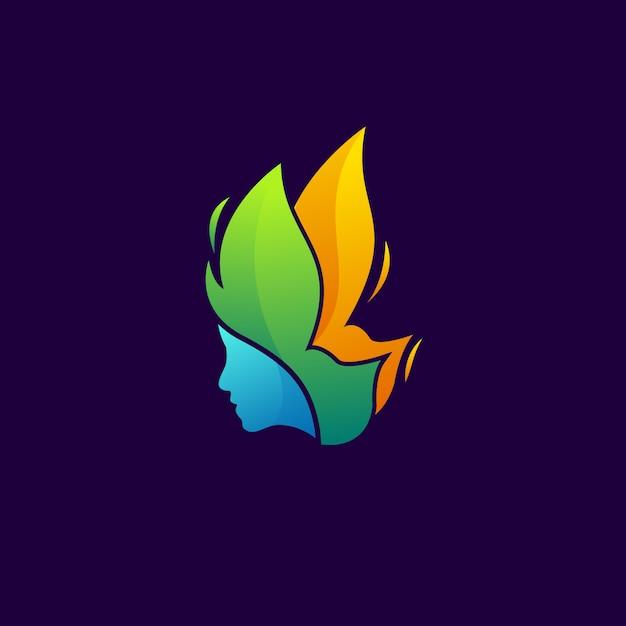 Farfalla logo moderno donna Vettore Premium