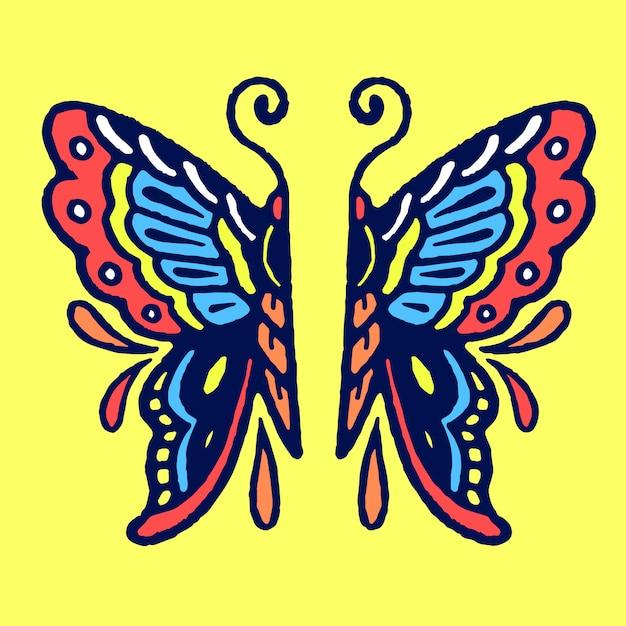 Farfalla nel vettore del tatuaggio di mezza scuola Vettore Premium