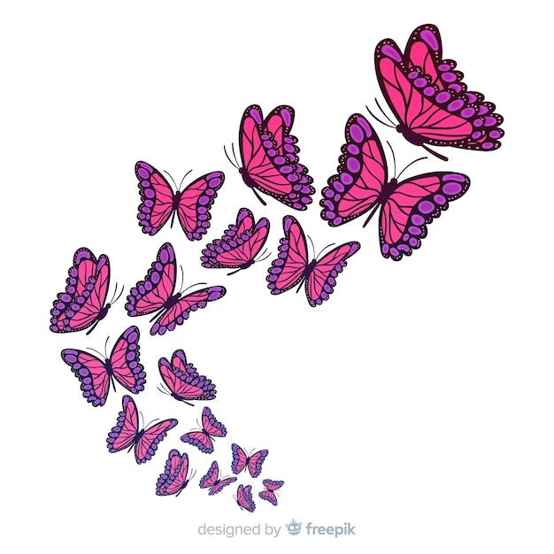 Farfalle che volano Vettore gratuito