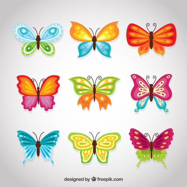 Farfalle decorativi colorati insieme Vettore gratuito