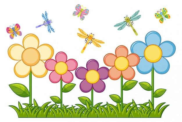 Farfalle e libellule in giardino fiorito Vettore gratuito
