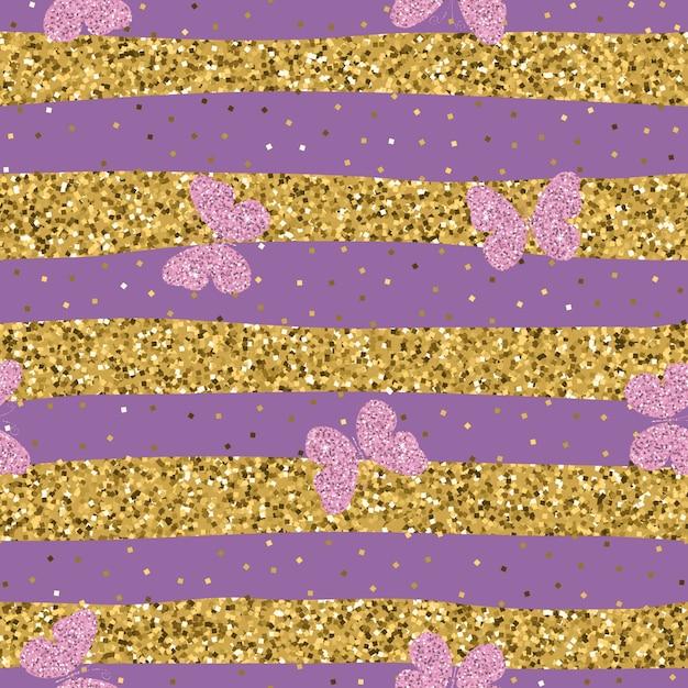 Farfalle luccicanti rosa porpora su fondo a strisce Vettore Premium