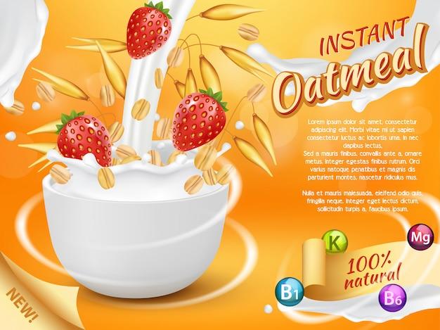 Farina d'avena istantanea con modello realistico di spruzzi di latte e fragola Vettore Premium