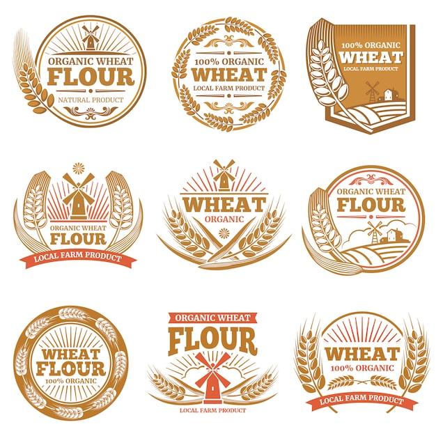 Farina di grano biologico, etichette e loghi di prodotti cerealicoli Vettore Premium