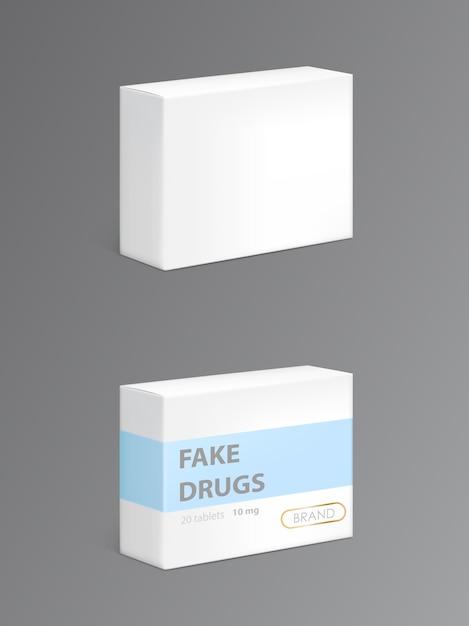 Farmaci falsi in confezione di cartone Vettore gratuito