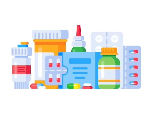 Farmaci. pillole e bottiglie della droga della farmacia, illustrazione piana Vettore Premium
