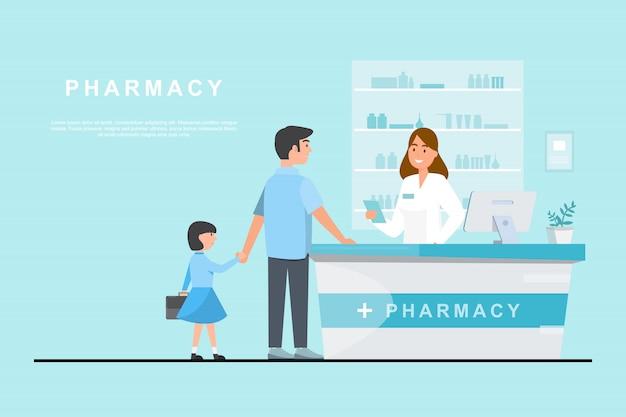 Farmacia con farmacista e cliente in contro Vettore Premium