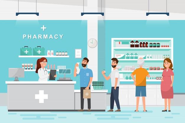 Farmacia con farmacista e cliente in contropiede Vettore Premium