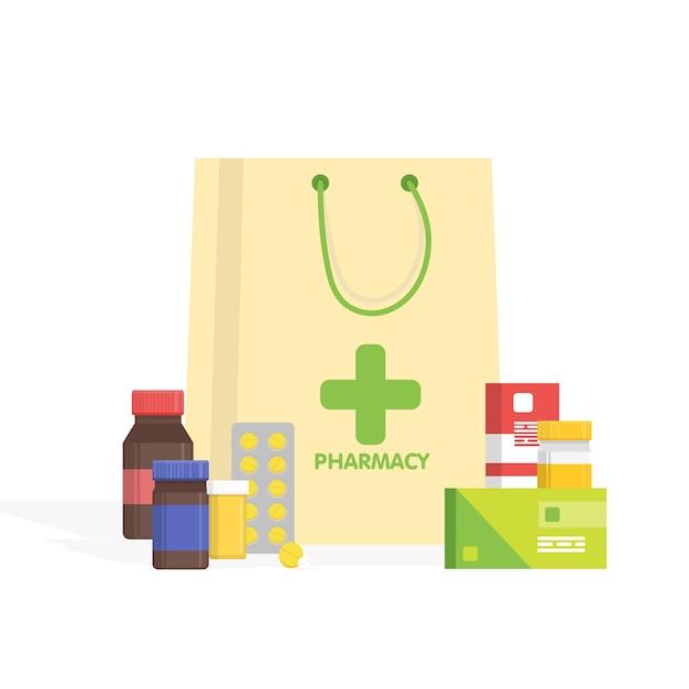 Farmacia e farmacia isolate moderne. Vettore Premium