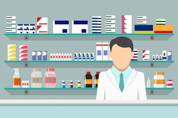 Farmacia interna moderna con farmacista maschio Vettore Premium