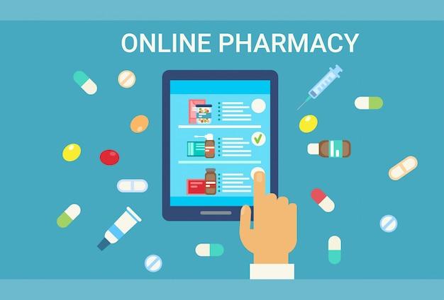 Farmacia online consultazione medica dottore health care clinics hospital service medicine network banner Vettore Premium