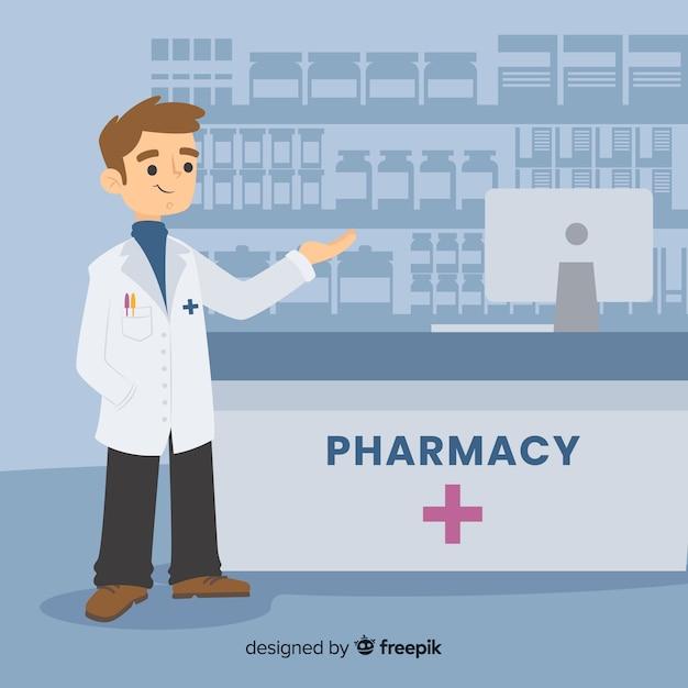 Farmacista piano che assiste alla priorità bassa dei clienti Vettore gratuito