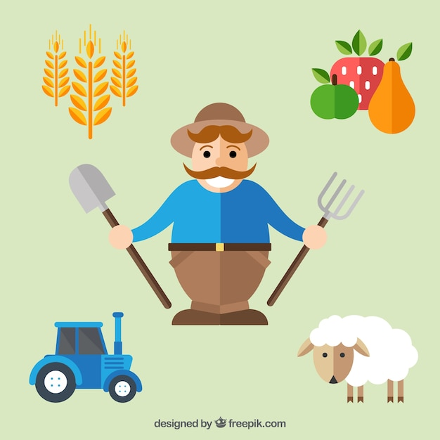 Farmer con elementi agricoli in stile piatto Vettore gratuito