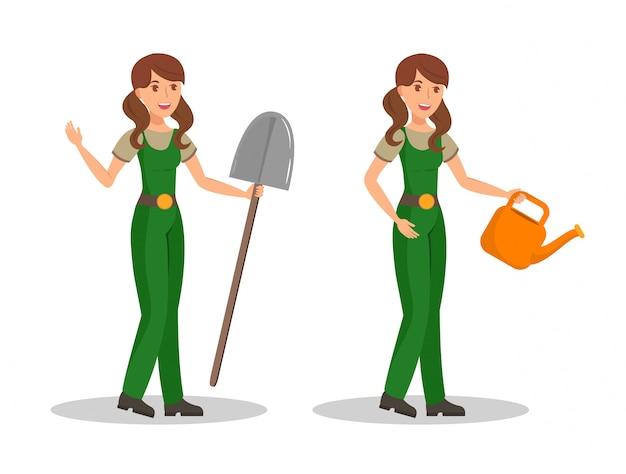 Farmer, gardener color cartoon vector characters Vettore Premium