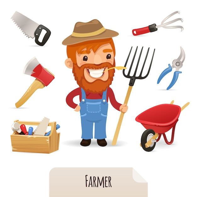Farmer icons set Vettore Premium
