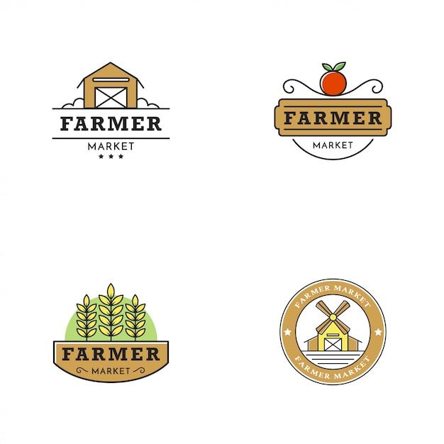 Farmer market logo vintage style Vettore Premium