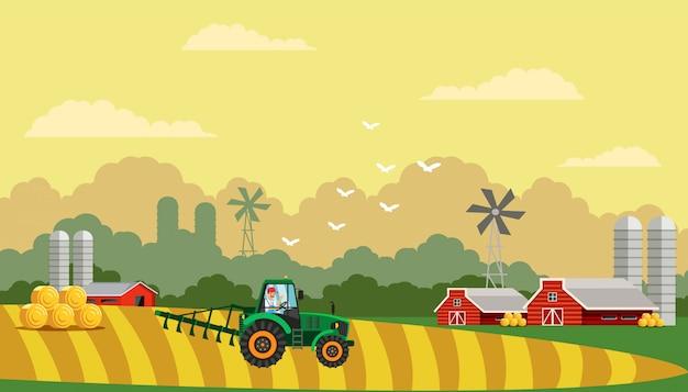 Farming life flat vector illustration Vettore Premium