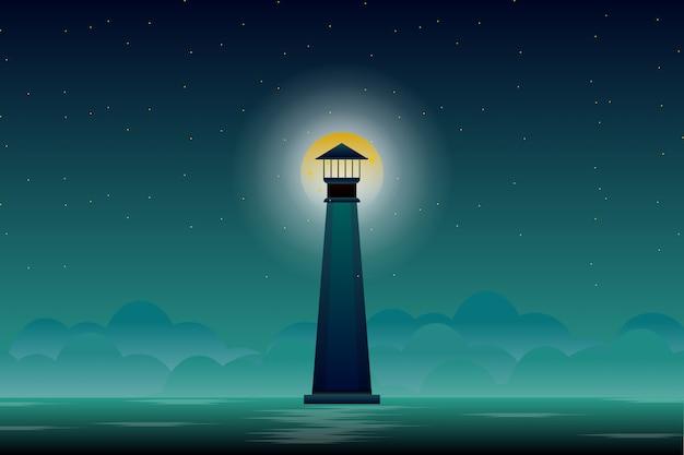 Faro con la luna piena e il cielo notturno Vettore Premium