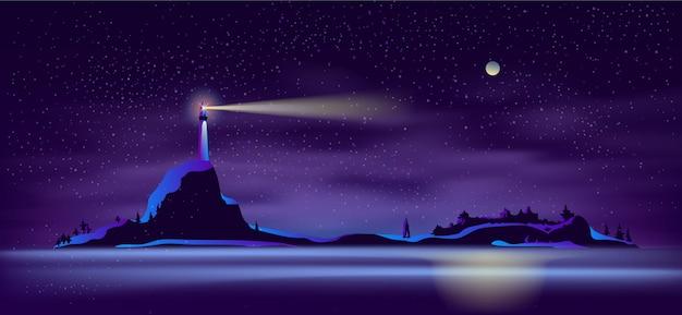 Faro di vettore di notte nei colori ultravioletti Vettore gratuito