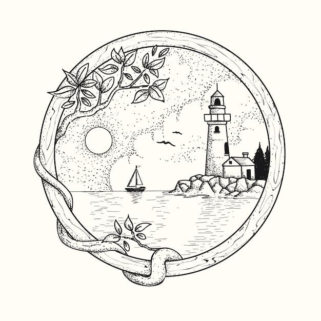 Faro disegnato a mano Vettore Premium