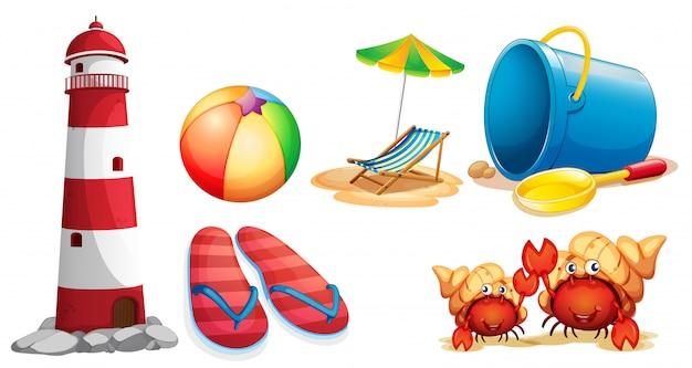Faro e diversi tipi di articoli da spiaggia Vettore Premium