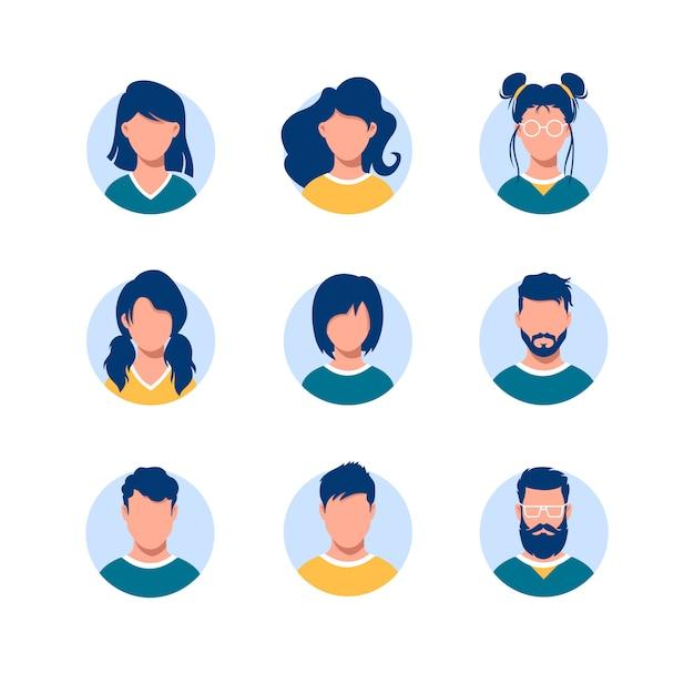 Fascio di avatar di persone rotonde. collezione di ritratti di uomini e donne con diverse acconciature in cornici circolari isolate su bianco Vettore Premium