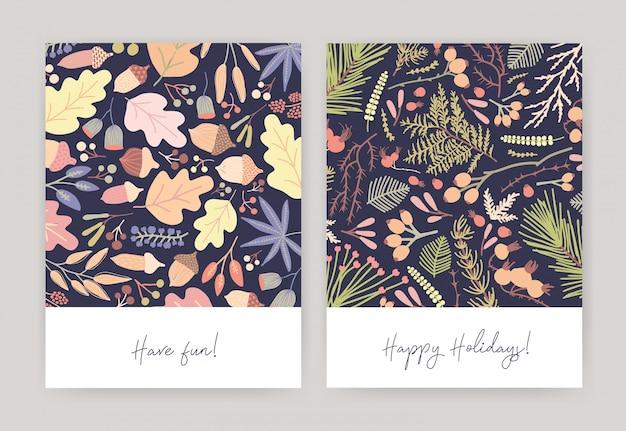 Fascio di biglietti di auguri stagionali con foglie cadute d'autunno, ghiande, rami di conifere, bacche, aghi di abete Vettore Premium