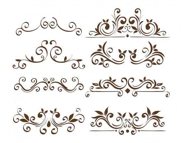 Fascio di eleganti cornici con bordi ornamentali Vettore gratuito