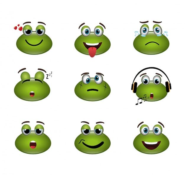 Fascio di emoticon espressioni di rane Vettore gratuito