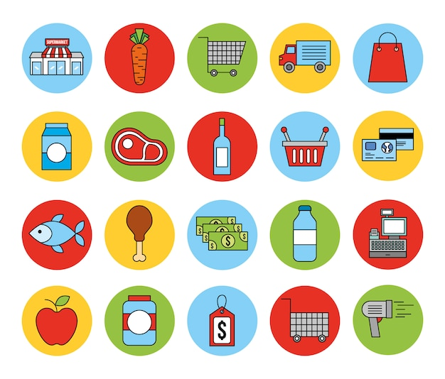 Fascio di icone del mercato di generi alimentari Vettore gratuito