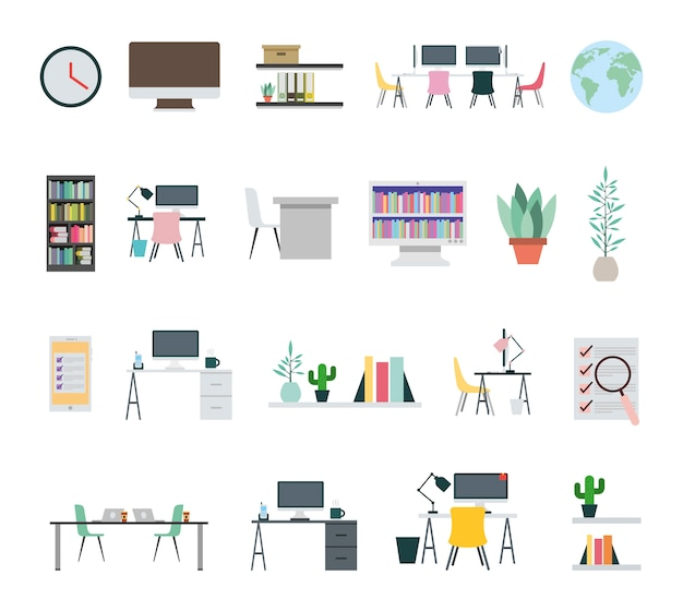 Fascio di icone di apparecchiature per ufficio Vettore gratuito