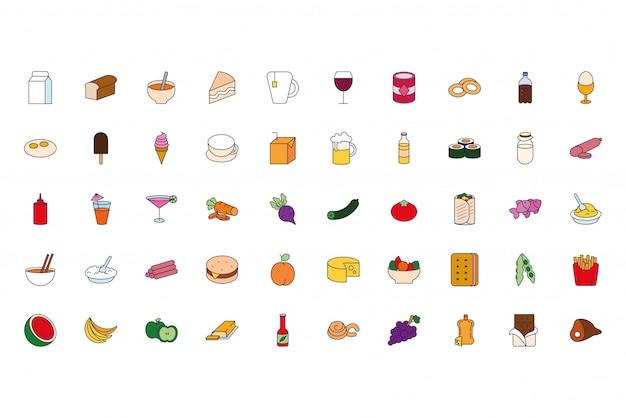 Fascio di icone di cibi e bevande Vettore gratuito