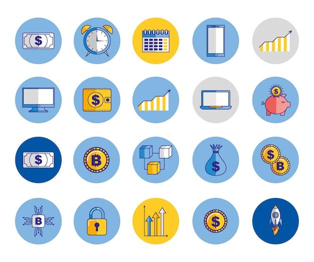 Fascio di icone di economia e finanze Vettore gratuito