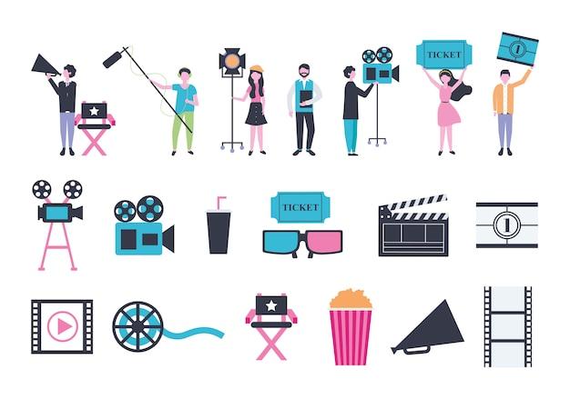 Fascio di icone di intrattenimento persone e cinema Vettore gratuito