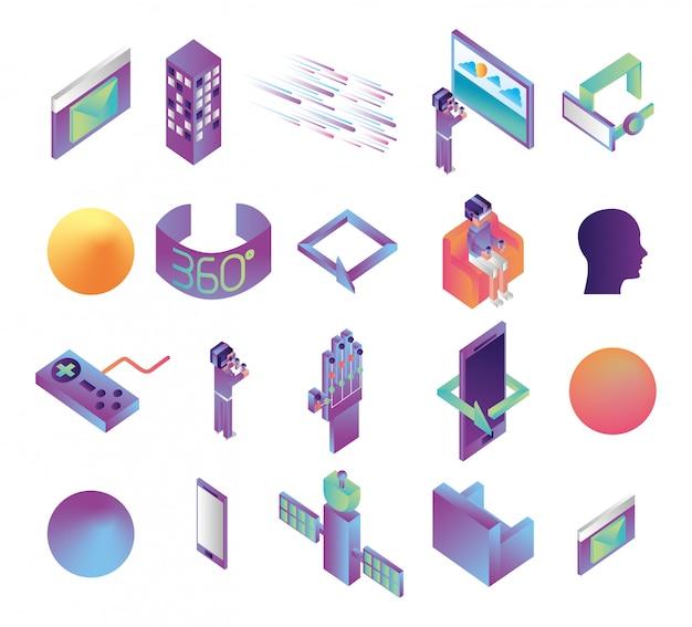 Fascio di icone di tecnologia di realtà virtuale Vettore gratuito