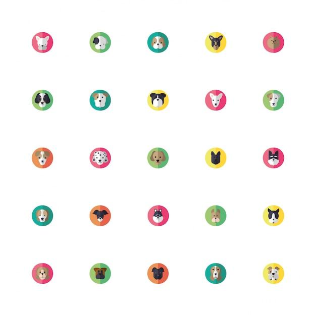 Fascio di icone di teste di cani svegli Vettore Premium