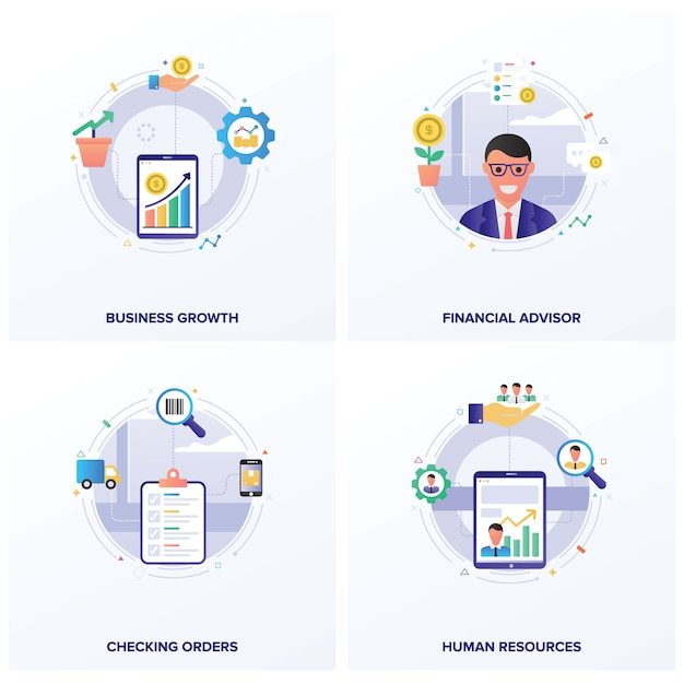 Fascio di illustrazioni piatte di seo Vettore Premium