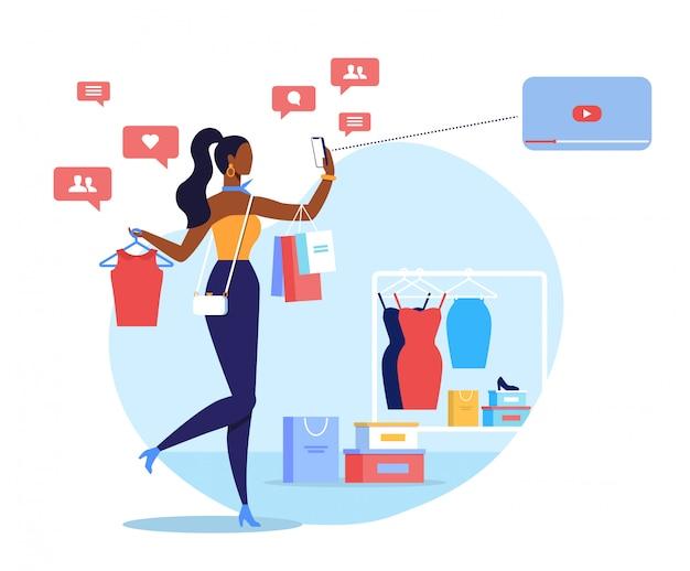 Fashion blogger, streamer flat vector illustration Vettore Premium