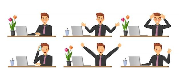 Fasi di lavoro su un computer Vettore Premium