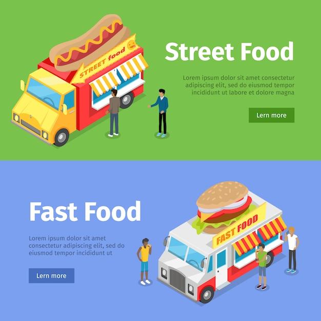 Fast and street food minivan che vendono hot dog Vettore Premium