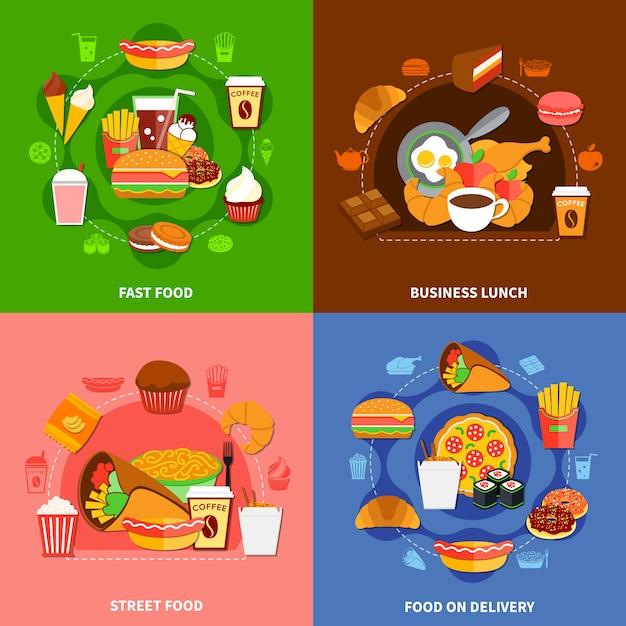 Fast food 4 flat icons square Vettore gratuito