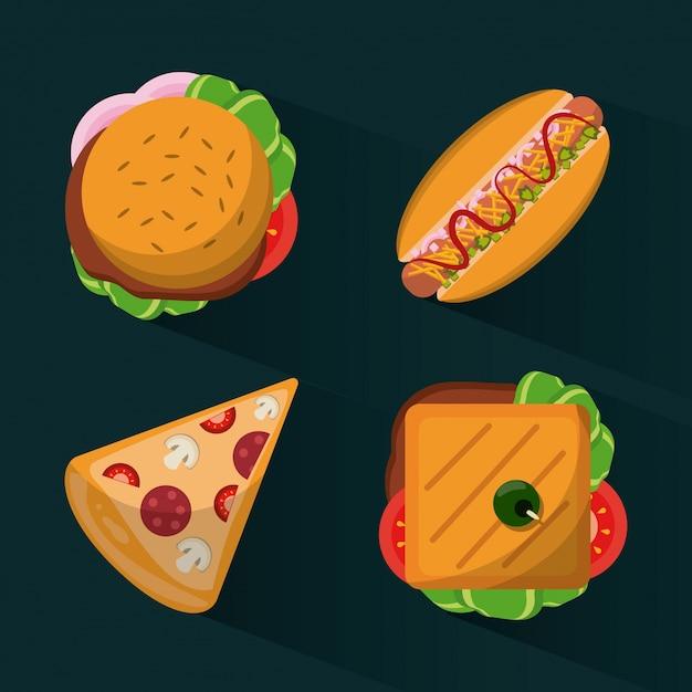 Fast food burguer e hot dog e pizza e sandwich Vettore Premium
