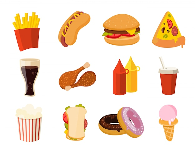 Fast food di cartone animato Vettore Premium