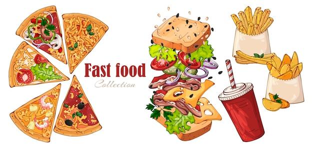 Fast food di vettore: panino, patate di campagna, pizza, bevanda. Vettore Premium