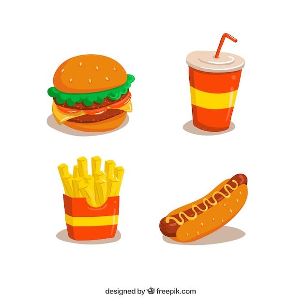 Fast food disegna collezione Vettore gratuito